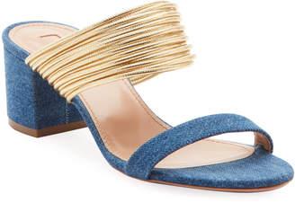 Aquazzura Rendez Vou Strappy Denim Sandals