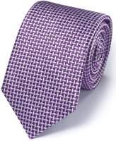 Charles Tyrwhitt Purple Silk Diamond Lattice Classic Tie Size OSFA