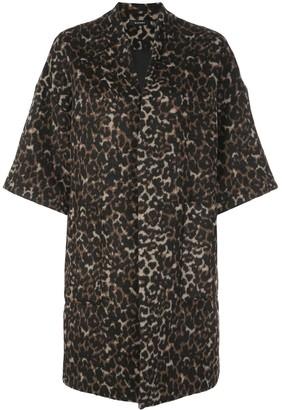 Natori leopard print kimono coat