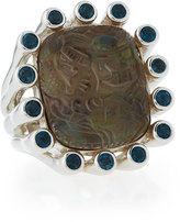 Stephen Dweck Carved Smoky Quartz & Blue Topaz Cocktail Ring, Size 7