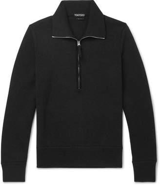 Tom Ford Suede-Trimmed Wool Half-Zip Sweater