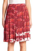Elle Sasson Celia Sparrow-Print Silk Pleated Skirt