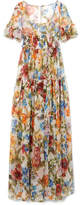 Dolce & Gabbana Shirred Floral-print Silk-chiffon Gown - Orange
