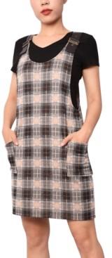 Planet Gold Juniors' Faux-Leather Strap Plaid Dress