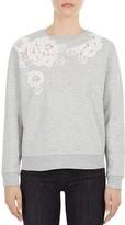 Gerard Darel Uma Floral Lace Inset Sweatshirt