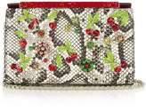 Christian Louboutin Vanite cherry-embroidered snakeskin clutch
