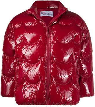RED Valentino Red Patent Puffer Jacket