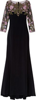 Marchesa Notte Embroidered tulle-paneled silk-satin gown