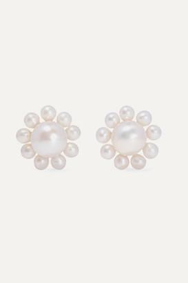 Sophie Bille Brahe Cecilie Bahnsen Poppy 14-karat Gold Pearl Earrings
