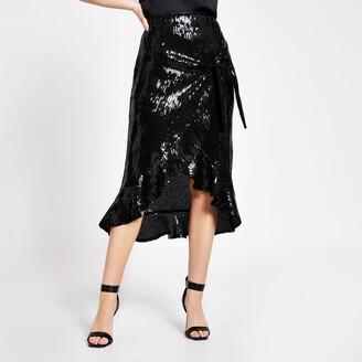 River Island Womens Black sequin wrap frill midi skirt