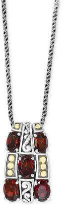 "Effy Rhodolite Garnet 18"" Pendant Necklace (4-3/8 ct. t.w.) in Sterling Silver & 18k Gold"