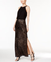 Vince Camuto Geo-Sequined Blouson Gown