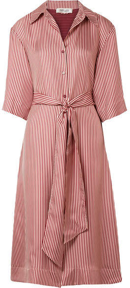 Diane von Furstenberg Striped Silk-twill Midi Dress - Blush