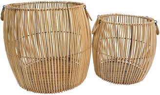 Bidkhome Set Of 2 Rattan Laundry Baskets