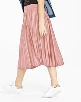 Wet Look Sunray Pleat Midi Skirt