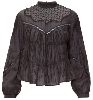 Isabel Marant Samantha Lace-trimmed Ramie Blouse - Womens - Black