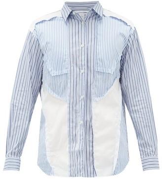Comme des Garcons Panelled Cotton-poplin Shirt - Mens - Blue White