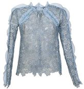 Self-Portrait Light Blue With Ruffles And Lace Guipure Shirt