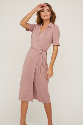 Paper Dolls Bassi Rose Pink Midi Wrap Dress