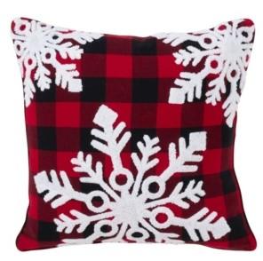 """Buffalo David Bitton Saro Lifestyle Plaid Snowflake Design Cotton Pillow, 18"""" x 18"""""""
