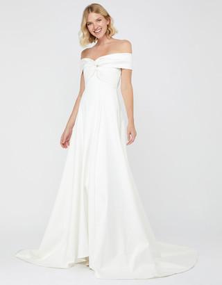 Under Armour Hannah Bridal Bardot Satin Maxi Dress Ivory