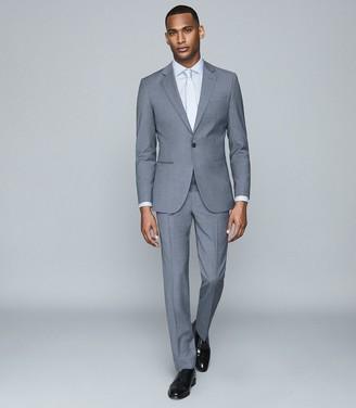 Reiss Remote Slim - Cotton Satin Slim Fit Shirt in Soft Blue