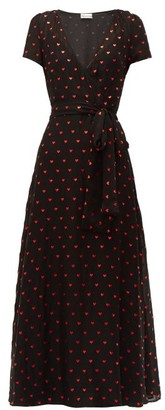 RED Valentino Heart-print Chiffon Dress - Womens - Black Multi