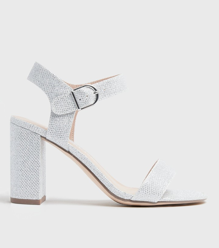 Thumbnail for your product : New Look Glitter 2 Part Block Heels