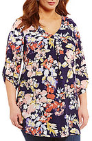 Bobeau Plus V-Neck 3/4 Sleeve Floral Printed Woven Blouse