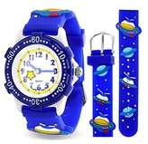 Bling Jewelry Blue Spaceship Planet Kids Watch Stainless Steel Back Analog.