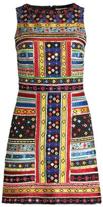 Alice + Olivia Natalie Jacquard Embroidered Sleeveless A-Line Dress