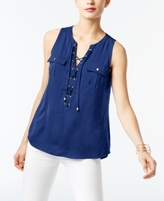 INC International Concepts Petite Lace-Up Blouse, Created for Macy's