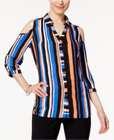 NY Collection Petite Striped Cold-Shoulder Blouse