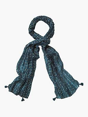 White Stuff Foil Spot Pleated Silk Scarf, Celestial Teal Print