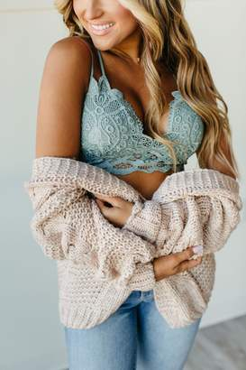 Scalloped Lace Bralette - Teal Grey