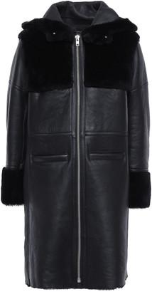 Maje Shearling Hooded Coat