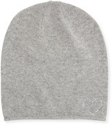 Portolano Wool-Blend Crystal Heart Slouchy Hat, Light Gray