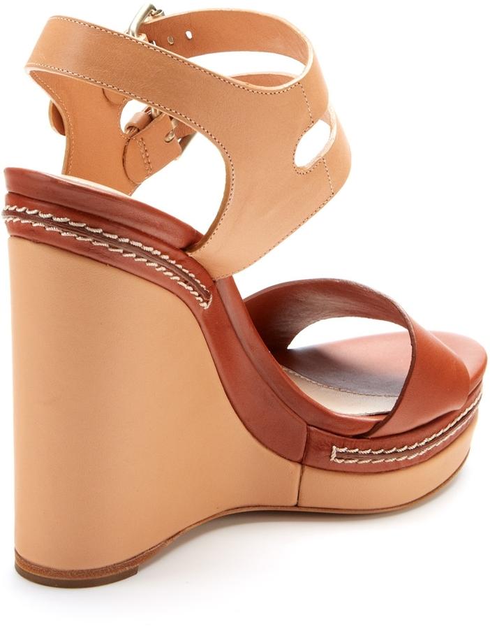Chloé Double Ankle Strap Platform Wedge Sandal