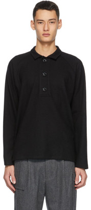 Winnie New York Black Oversized Placket Long Sleeve Polo