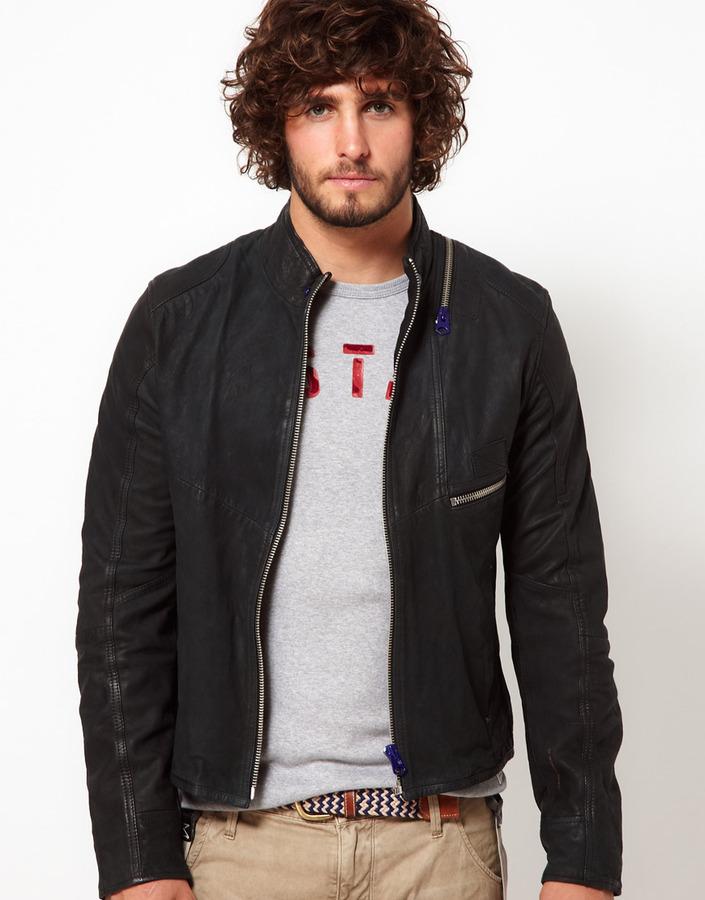 G Star G-Star Leather Jacket Aero Zip Front
