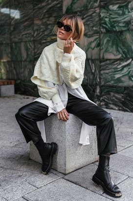 Gine Margrethe X NA-KD Cropped Cable Knitted Sweater