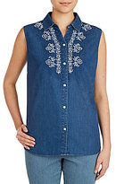 Allison Daley Sleeveless Embroidered Denim Button Front Blouse