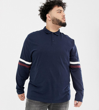 Asos Design DESIGN Plus relaxed long sleeve polo shirt with contrast sleeve stripe in navy