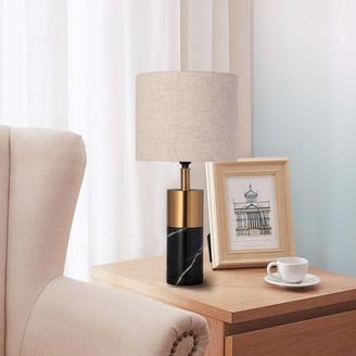 Vecelo Bedside Table Desk Lamp Mid-Century Modern Pillar Light Living Room Bedroom
