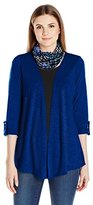 Notations Women's 3/4 Sleeve with Roll Tab Cozy with Solid Kint Inset and Lace At Back with Printed Scarf