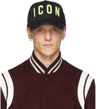 DSQUARED2 Black and Yellow Icon Baseball Cap