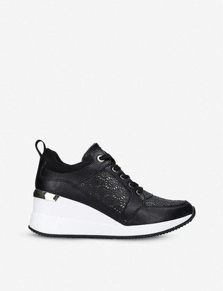 Aldo Coluber lace-panelled wedge-heel trainers