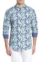 Bugatchi Shaped Fit Blue Leaves Sport Shirt