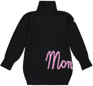 Moncler Enfant Logo wool and alpaca-blend dress