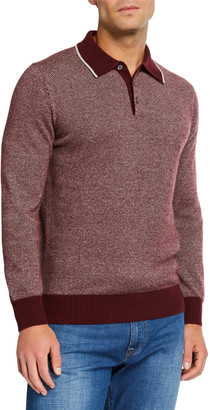 Neiman Marcus Men's Long-Sleeve Birdseye Cashmere Polo Shirt